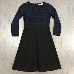LOFT Navy/Black Striped Long Sleeve A Line Dress